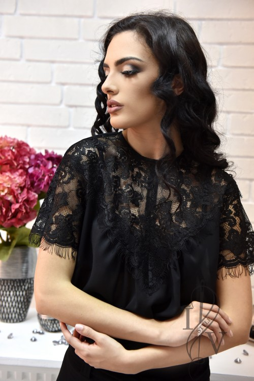 Black blouse with lace yoke