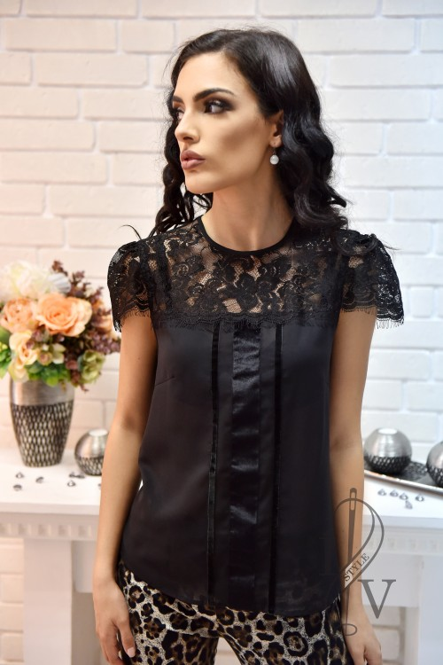 Black blouse with lace and velvet strips