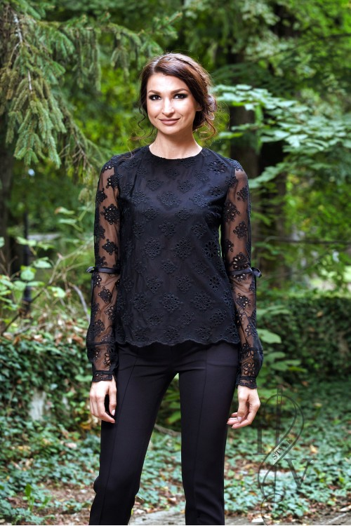 Black lace blouse of flowers