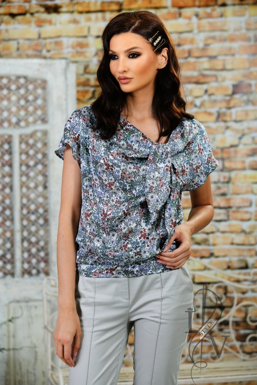 Elegant Flower Blouse with tie