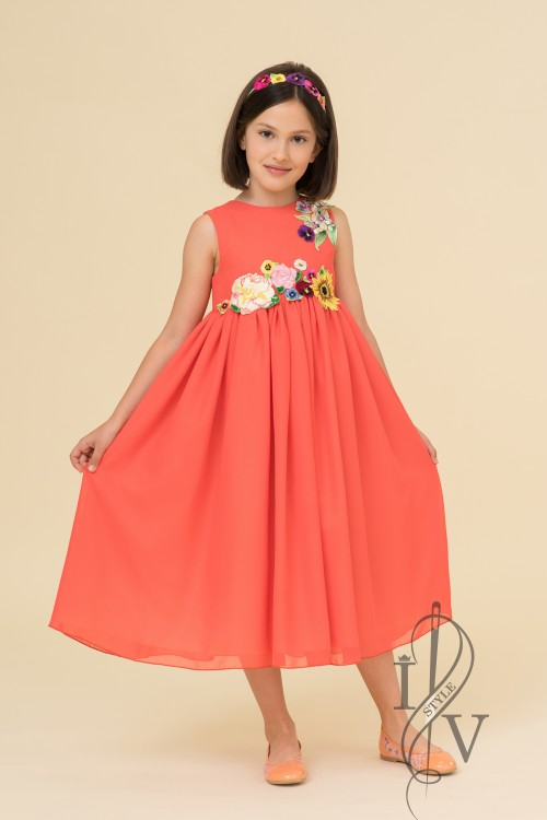 Children's coral dress with flowers