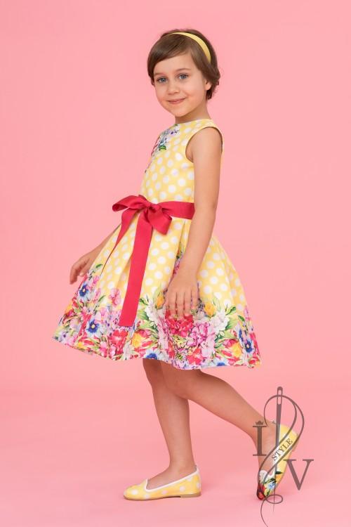 Children's yellow polka-dot dress with belt