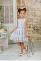 Children lace dress with a blue belt