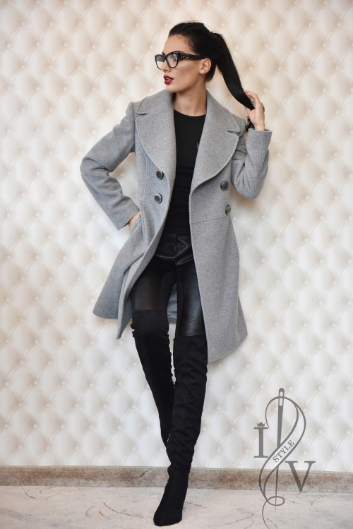 Gray two-tier coat