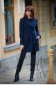 Dark blue coat with knitting