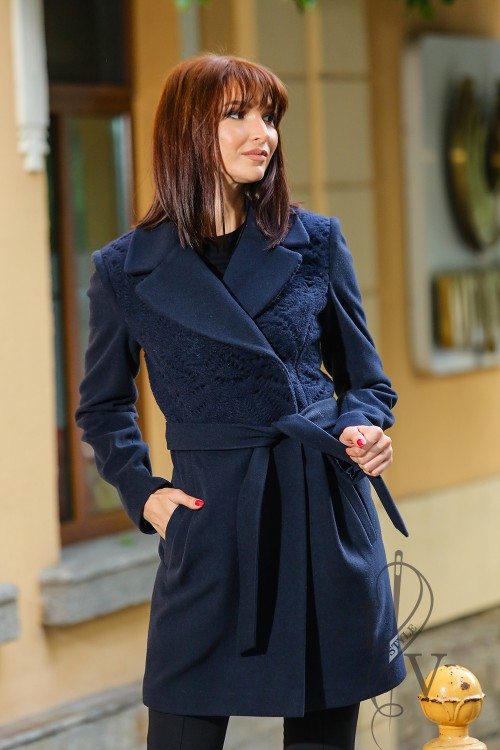 Dark blue coat with knitting