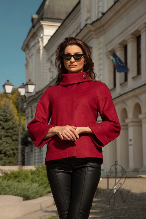 "Short burgundy coat ""FRENCH"""