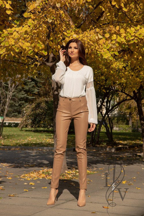 """BEIGE LEATHER"" trousers"
