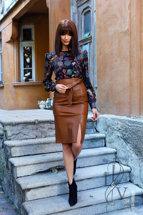 "Brown leather skirt ""Brown Sugar"""