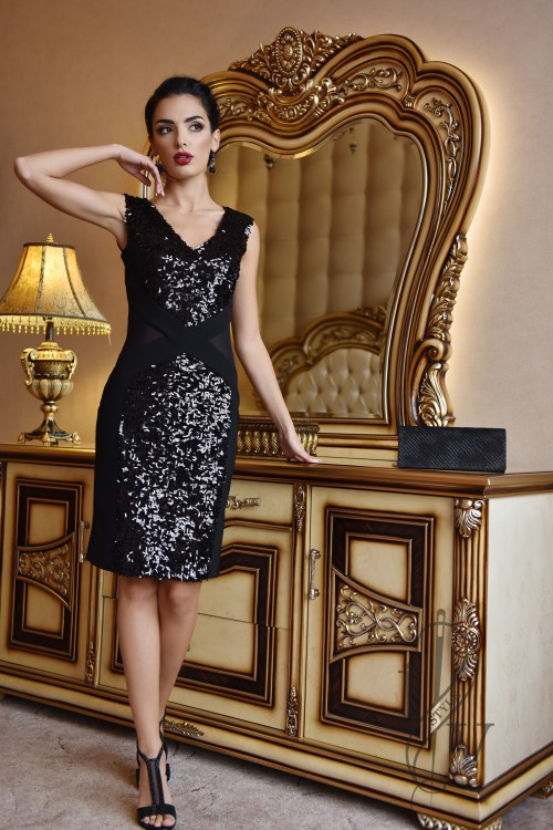 Black formal dress with net and sequins