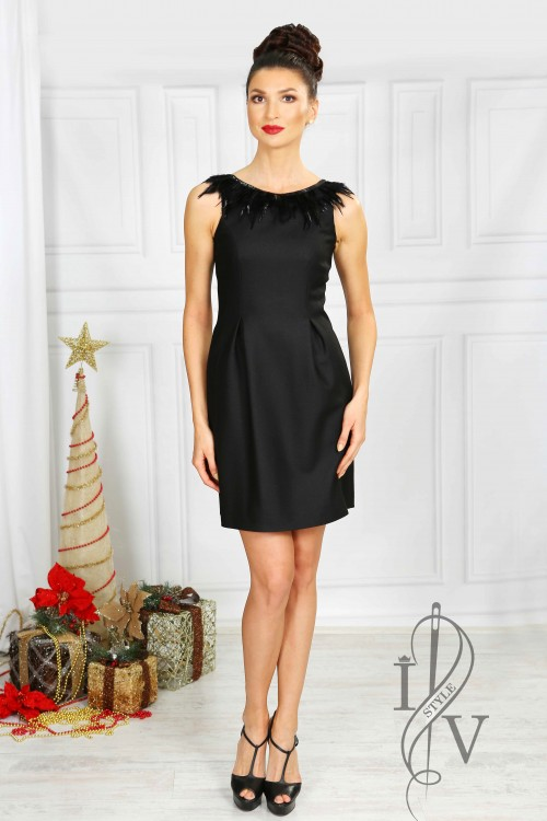 Elegant ladies dress with feather and sequin decoration