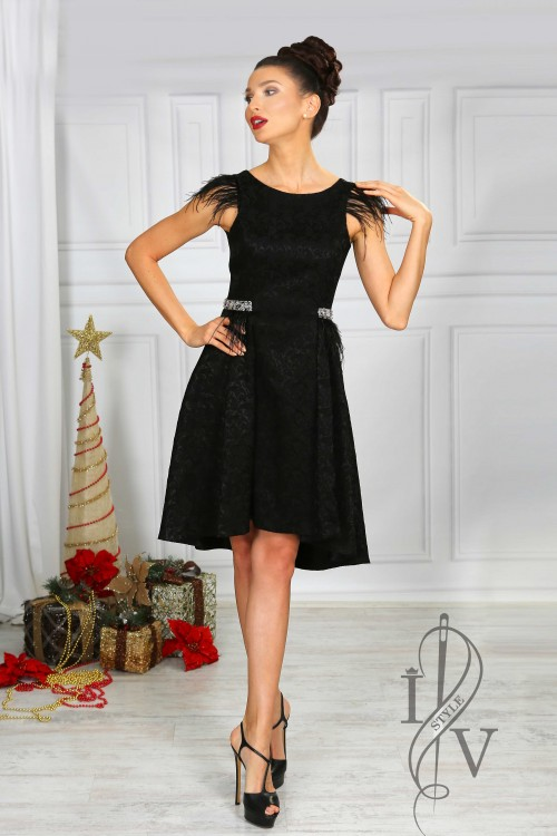 Luxury asymmetrical black dress
