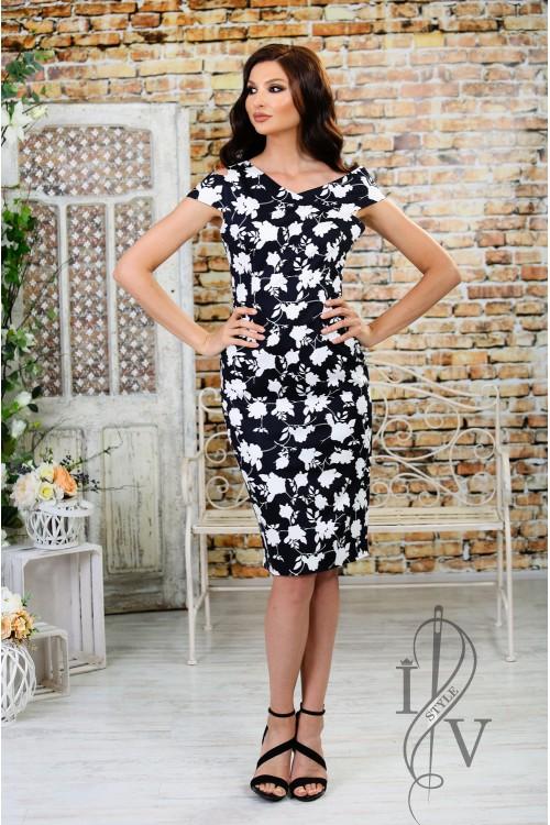 "Stylish ladies dress with zipper ""white flowers"""