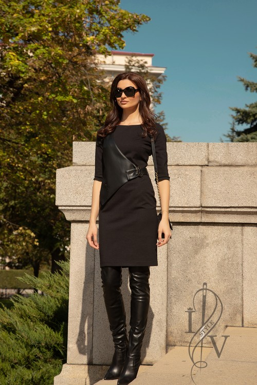 "Black dress with leather elements ""DESIRE"""