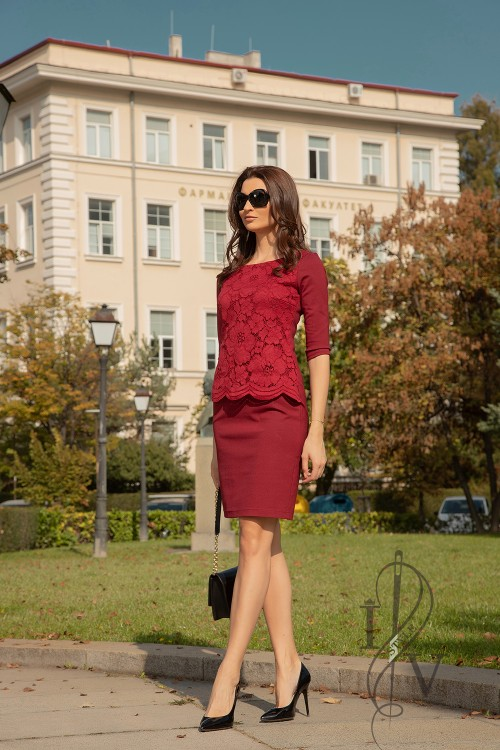 "Women dress in burgundy ""RUBIN"""