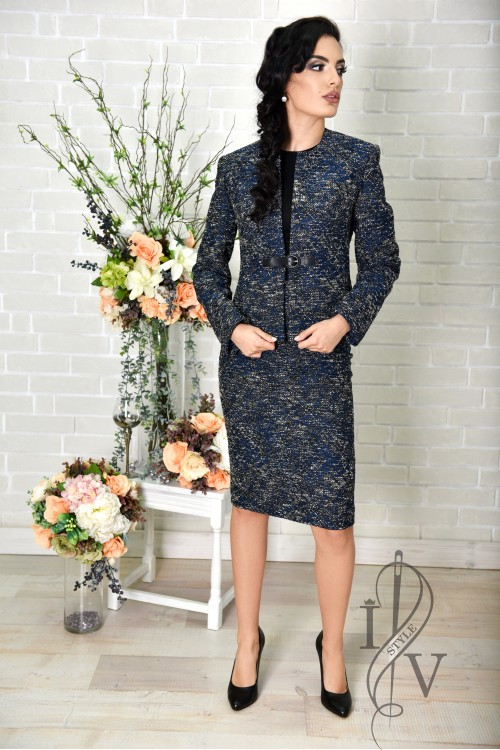 Dark blue jacquard jacket