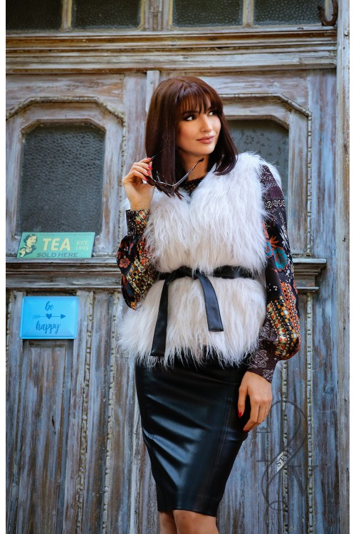 Eco leather fur coat